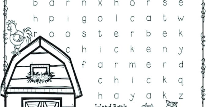 free farm animal word search
