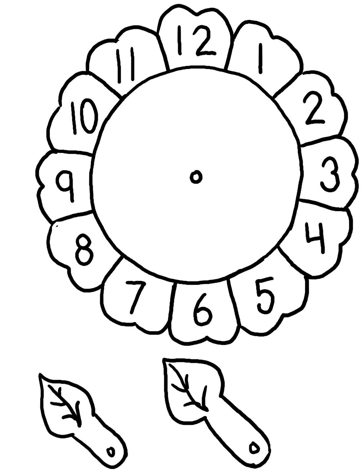 kindergarten clock face templates