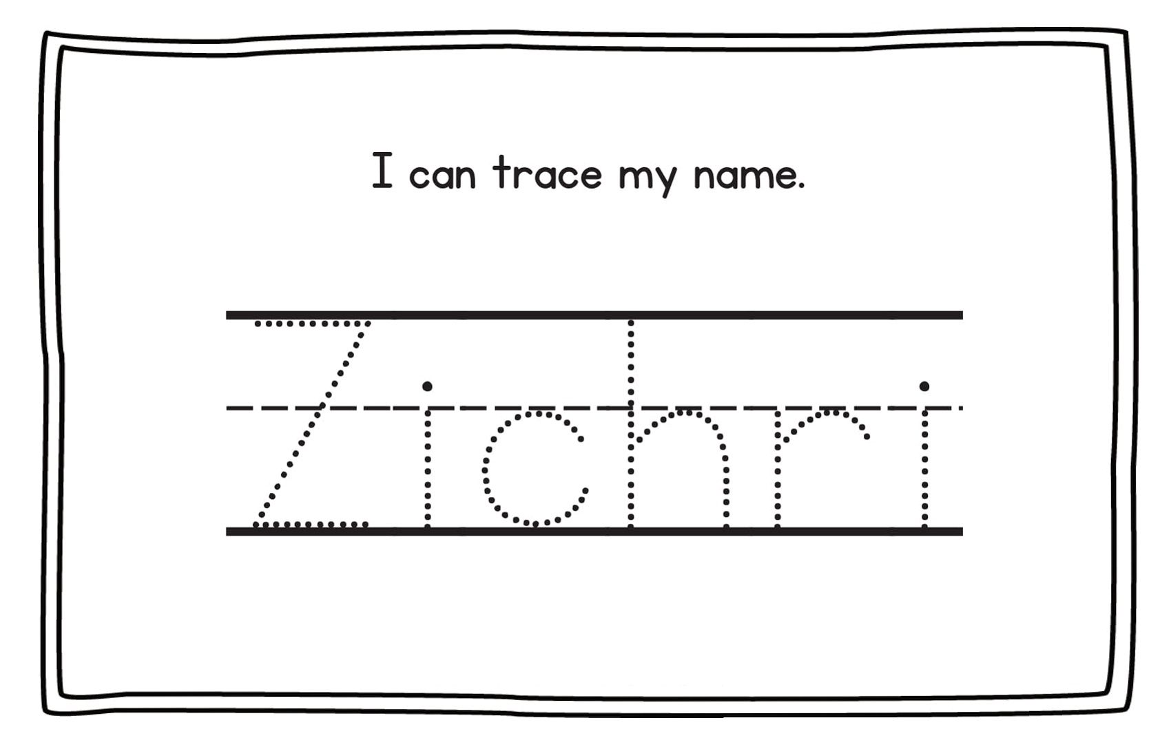 traceable name sheets for kids