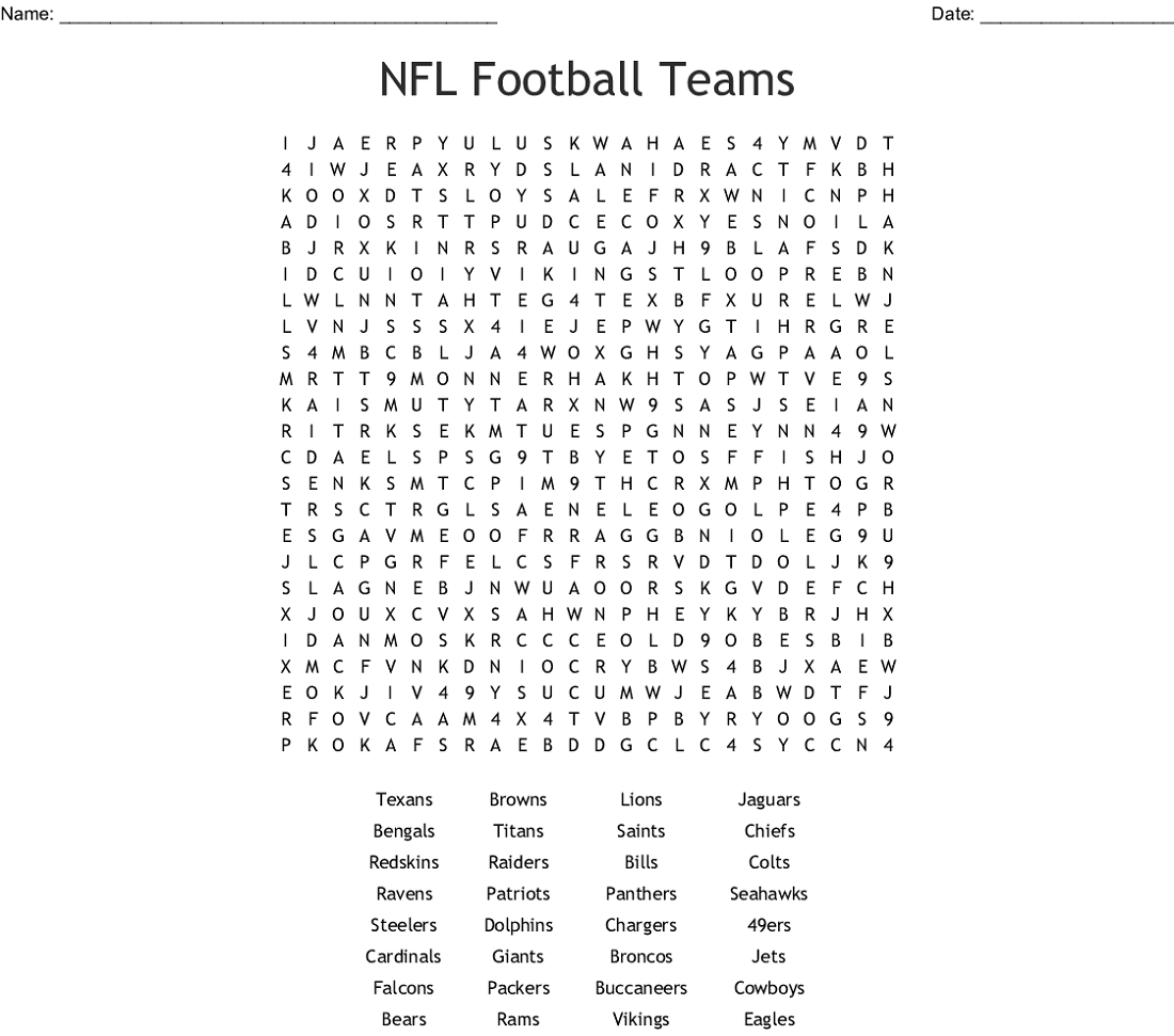 nfl word search activity